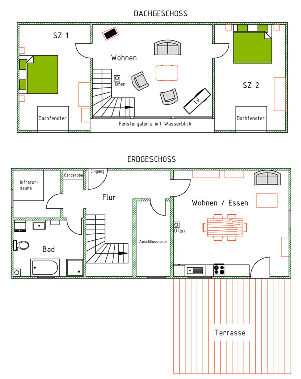 Haus Darßblick, Grundriss, Urlaub am Bodden
