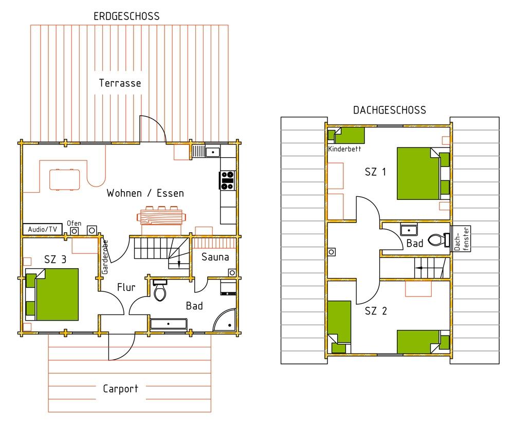 Haus Werner, Grundriss, Ferienhaus