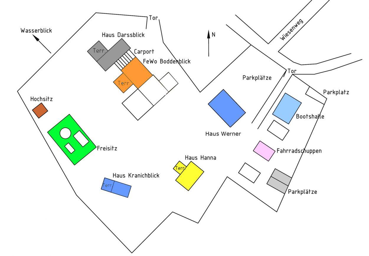 Ferienhäuser Boddenperlen, Lageplan