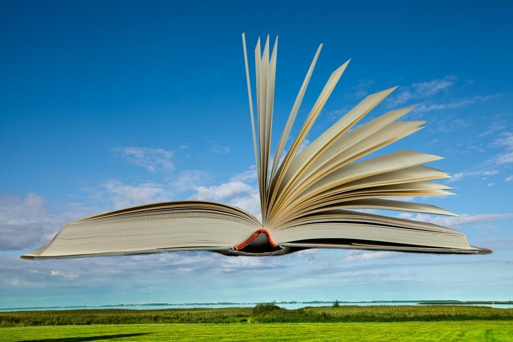 Collage, Landschaft, aufgeklaptes Buch in der Luft