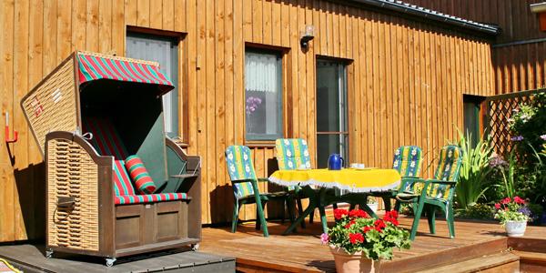 Ferienwohnung Boddenblick, Terrasse, Ferienhäuser Boddenperlen